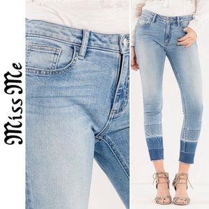 Miss Me Ombré Release Hem Ankle Skinny Jeans